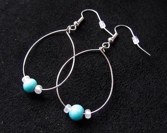 Oval Hoop beaded Earrings