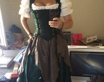 Green Renaissance Corset Dress Witch Wench custom Gown costume