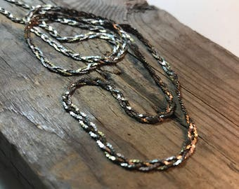 Sterling Silver Braided Snake Chain, Tri Colored, 24 Inches, Vintage Unisex Jewelry Fine Jewelry Silver Necklace