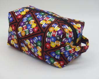 Billiards Travel Bag, Billiards Dopp Kit, Ditty Bag, Toiletry Kit, Travel Bag, Zip Pouch, Go Bag, Gifts for Pool Players, Billiards Gifts