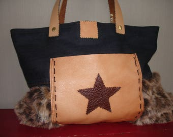 Denim tote bag, faux fur and leather