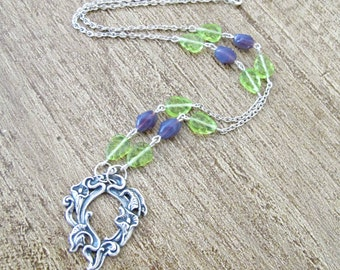 Purple Green Botanical Necklace Jewelry Jewellery - Silver Mauve Pastel Leaf Floral For Women Her - Beaded Boho Chic Bohemian Dainty Gift