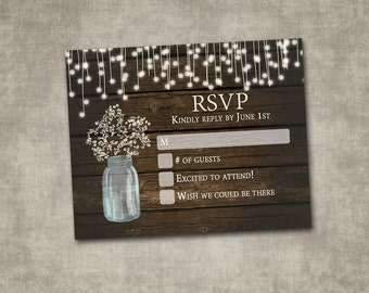 RSVP Wedding Card Baby's Breath Mason Jar Rustic Wood Country Barn String Fairy Lights Cream Digital File or Printed I customize for you