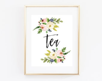 Tea Party Printable Sign 8x10 Blush Pink Watercolor Floral, Tea Baby Shower, Bridal Shower, Wedding Shower, Reception, Birthday BLM