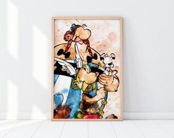 Asterix And Obelix Print Asterix Prints Asterix Wall Art Obelix Wall Art Asterix Printable Asterix Obelix Obelix Prinatable Watercolor Print