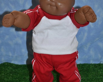 """Cabbage Patch Doll Clothes - Handmade for 16"""" - 18"""" Boy Dolls - Red Sweats Outfit"""