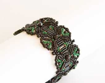 Black Bracelet with Forest Green and Bits of Copper Beads. Symmetrical Geometric Beadwoven Textured Bracelet. Smadar Grossman Design S166