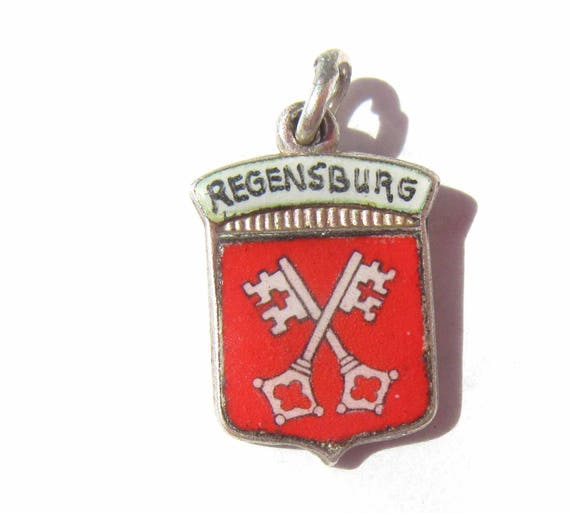 Regensburg Germany Charm, Enamel Shield Charm, Bavaria Souvenir, Sterling Silver 800 Silver Charm, Coat of Arms