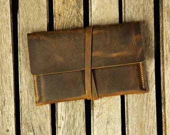 Distressed leather Kindle Paperwhite case cover / Simple retro brown leather Kindle Voyage cover case  KDX05S-S