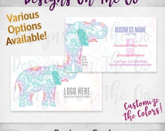 Elegant Elephant Business Cards, Custom, Customize Colors, Various Options, Direct Sales, Consultant, Branding, Marketing, Foil