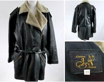 Vintage Shearling Leather Coat, Vintage Leather Coat, Women's Leather Coat, Vintage Leather Jacket, Shearling Leather Jacket, Shearling Coat