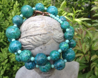 Large Natural Stones Blue Green Bug Fossil Statement Necklace---Monet's Garden--by Lady Grey Beads