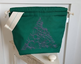 Purple Geo Triangle Bloom Drawstring Project Bag