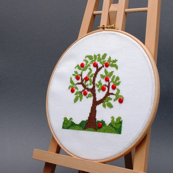 Modern Cross Stitch Kit Diy Embroidery Kit Apple Tree Easy