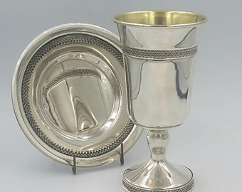 925 hand made Sterling silver filigree kiddush cup + matching plate / shabbat / wine goblet