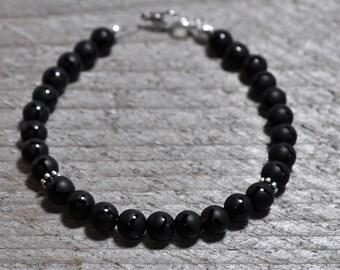 Black Onyx Bracelet, Gemstone Bracelet, Grounding Bracelet, Gift for Mom