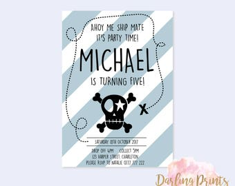 Birthday Boy Pirate Invitations • DIGITAL FILE • Personalised and print ready