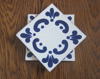 Set of 2 Blue Mexican Folk Art Tile Drink Coasters