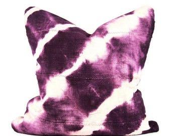 Mudcloth Pillow Purple Shibori   18 x 18   20 x 20   Shibori Tie Dye African Mud Cloth Pillow   Purple Mudcloth Pillow   Bohemian Pillow