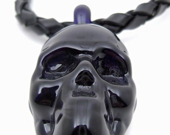 Flameworked Glass Skull Necklace