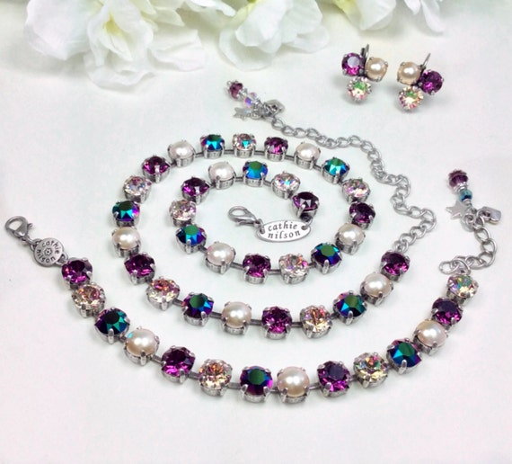 Swarovski Crystal & Pearl 8.5mm Necklace Gorgeous Off- Beat Shades - Amethyst,Purple Haze, Scarabaeus Green, Lt. Gold Pearls -FREE SHIPPING