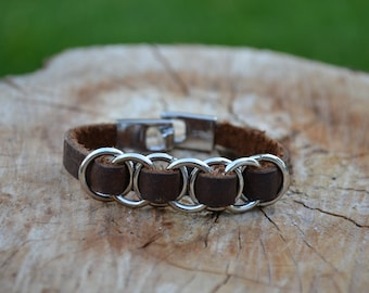 Leather bracelet with rings - Handmade