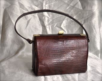 Vintage Madwed Lizard Leather Purse Top Handle 50's