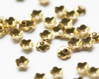 400 Pieces Raw Brass Flower Caps- 3mm (1700C-T-6)