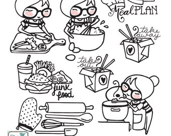 Planner Girl - COOKING Stamp Clipart - Planner Stickers, scrapbook , card design, invitations, paper crafts, INSTANT DOWNLOAD