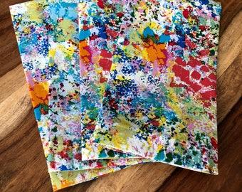 Splatter Paint Napkins, coral orange blue green-Set of 2 or 4 napkins