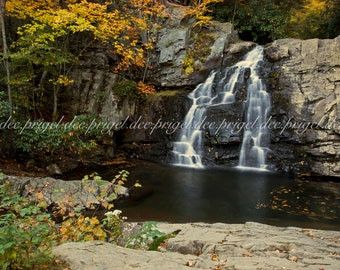 Autumn Waterfall - Printed Photograph, Canvas, or Metal Print