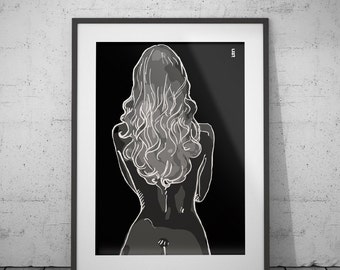 Figure drawing in black, female figure, female, girl, she, woman drawing, girl drawing, decoration, wall art, girl poster, female poster