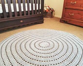 1.5 Meters Diameter, Crochet Floor Rug, Made To Order, Mandala Rug, Decorative Floor Rug, Floor Rug, Round Crochet Rug, Nursery, Round Rug