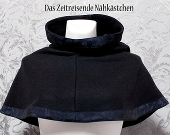 Medieval Chaperon, Cape, hood, black