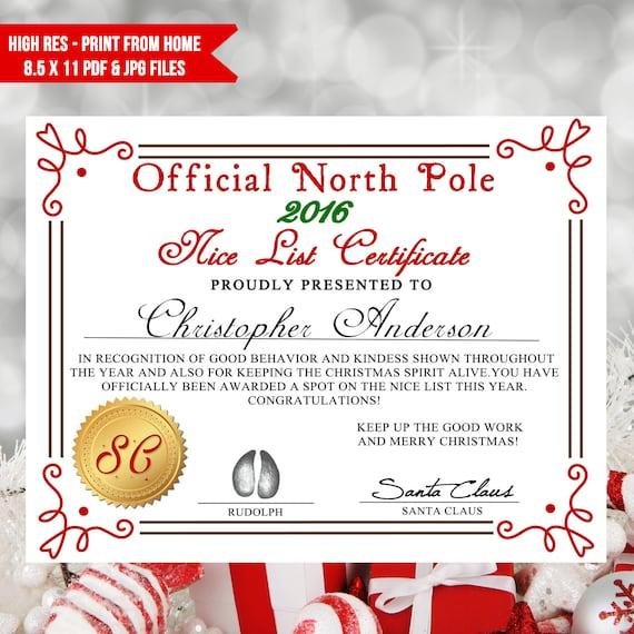 Druckbare schöne Liste Zertifikat Santa Brief schöne Liste