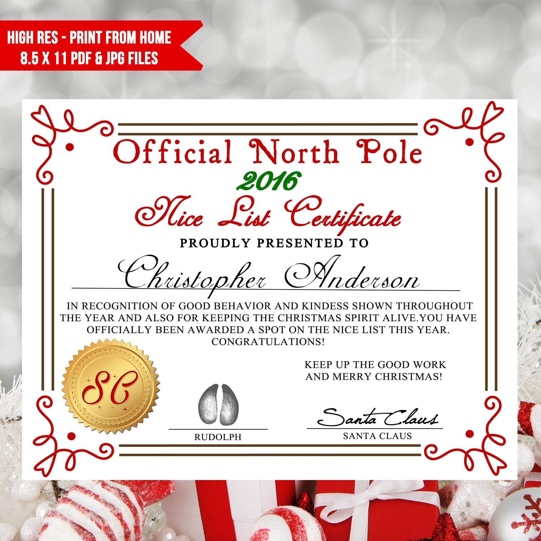 Printable nice list certificate santa letter nice list diy zoom yadclub Gallery