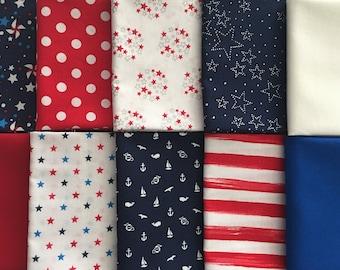 Patriotic, Nautical, Red White and Blue, 10 Fat Quarter Bundle