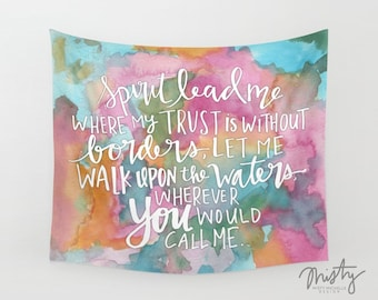 Spirit Lead Me Tapestry Wall Hanging - Wall Tapestry Quote | Watercolor Tapestry | Inspirational Gifts | Dorm Room Wall Hanging | Bedroom