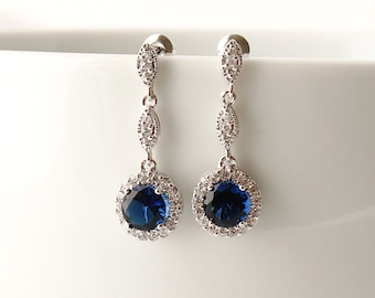 Gigi - Sapphire Blue Wedding Earrings, Bridal CZ Earrings, Cubic Zirconia Dangle Earrings, Vintage Wedding Jewelry, Bridesmaids Earrings