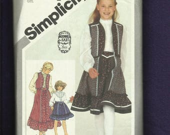 1981 Simplicity 5162 Gunne Sax Country Girl's Ruffled Skirt Blouse & Vest Trimmed in Ribbon Size 14 Girl UNCUT