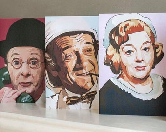 Carry On star greetings cards, ft Hattie Jacques, Kenneth Williams, Charles Hawtrey and Sid James