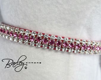 "NEW! Pretty in Pink Petite Rhinestone Dog Cat Pet Collar - 3 Row Preciosa® Rose & Crystal 3/8"" Wide 10"" 12"" 14"""