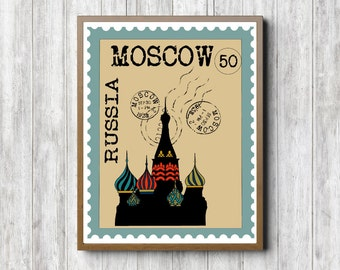 Moscow Wall Art Printable - Russian Postage Stamp Poster - Saint Basil's Cathedral - Vasily - Moscow Wall Decor - Office Wall Art