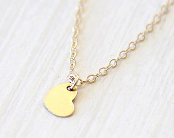 Dainty Thin 14K Gold Filled Heart Necklace // everyday dainty bridesmaid jewelry