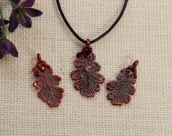 SALE Leaf Necklace, Copper Lacey Oak Leaf, Real Oak Leaf Necklace, Copper Leaf Pendant, SALE361