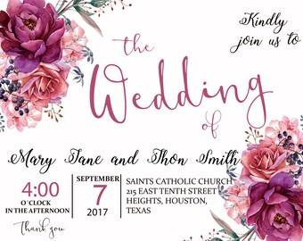 Wedding invitation PDF download printable/editable english and spanish. Invitación de boda PDF español. editar e imprimir. party printable