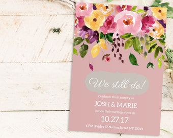 We still do invitations etsy vow renewal invitation we still do editable pdf invitation template watercolor wedding anniversary diy instant download editable text stopboris Images