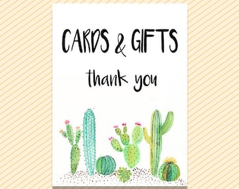 Cards and Gifts Sign, Succulent Cards and Gifts, cactus Cards and Gifts, Printable Cards and Gift Sign, Shower Signs, Cards Download Sign