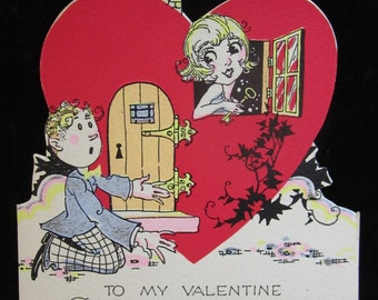 Fantastic 1920's-30's unused art deco die cut hand colored valentine card flapper girl holds a key inside heart shaped house man on knees
