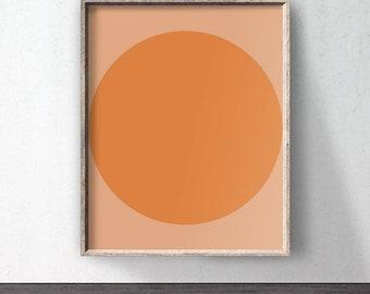 Orange abstract print, Circle downloadable print, Abstract poster, Orange wall art, Minimal wall art, Poster download, Printable art print